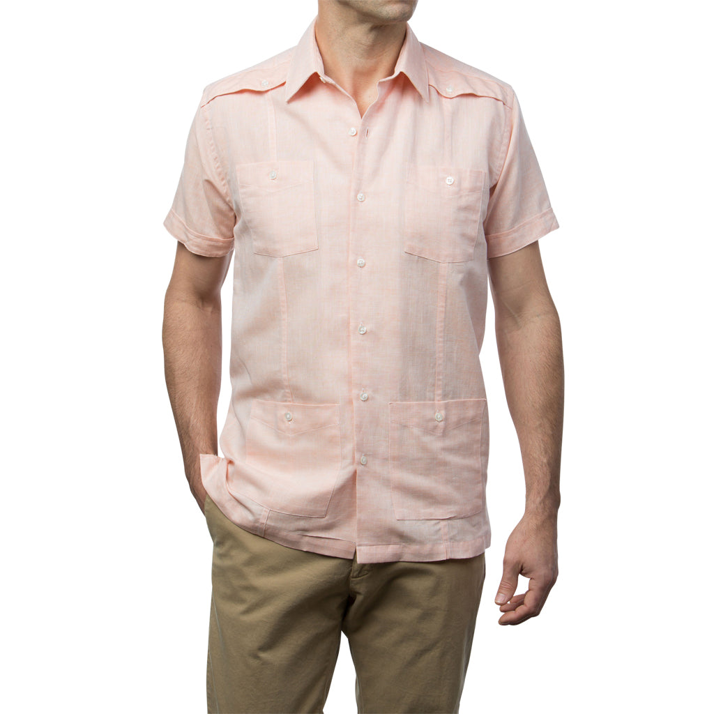 El Guapo Guayabera - Light Orange Linen