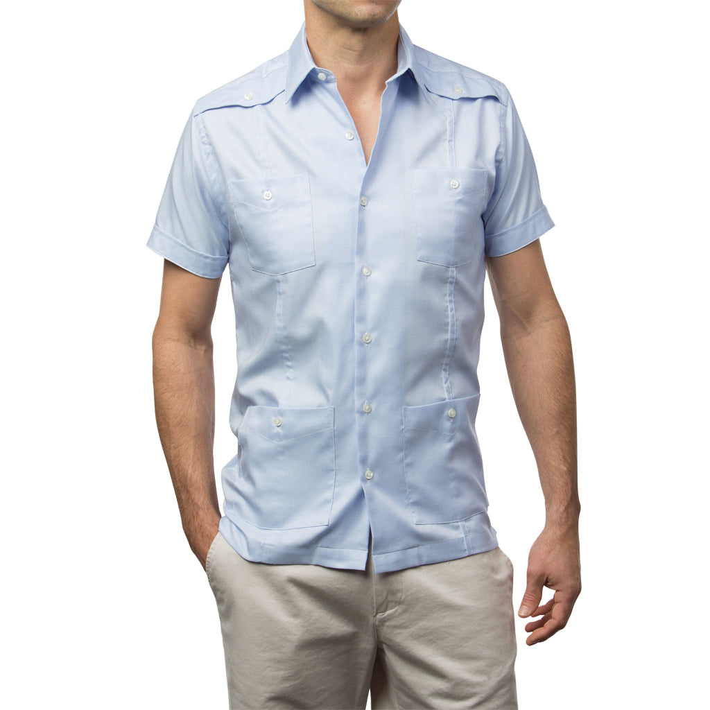 El Guapo Guayabera - Light Blue & White Woven