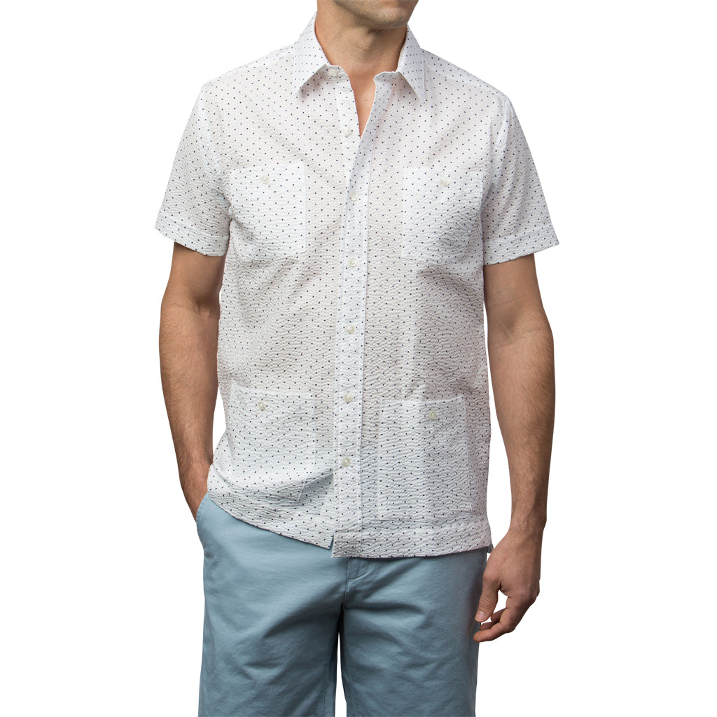 El Presidente Seersucker Guayabera, Mexican Shirt for Men - White