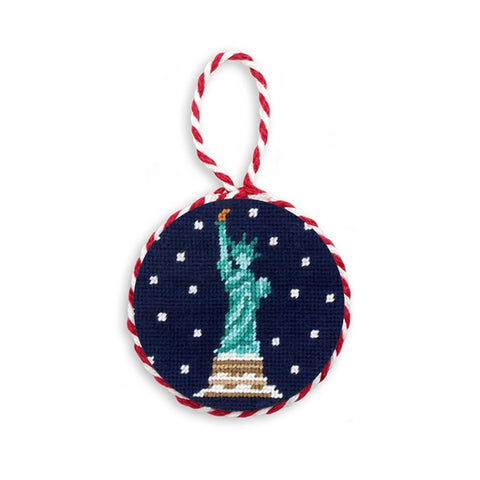 Snowy Statue of Liberty Needlepoint Ornament