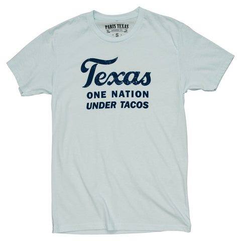 Texas One Nation Under Tacos T-Shirt - Light Blue