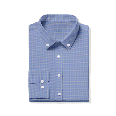 Hill Oxford Tattersall Sport Shirt - Periwinkle