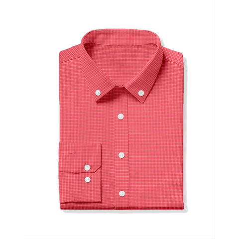 Hill Oxford Tattersall Sport Shirt - Watermelon