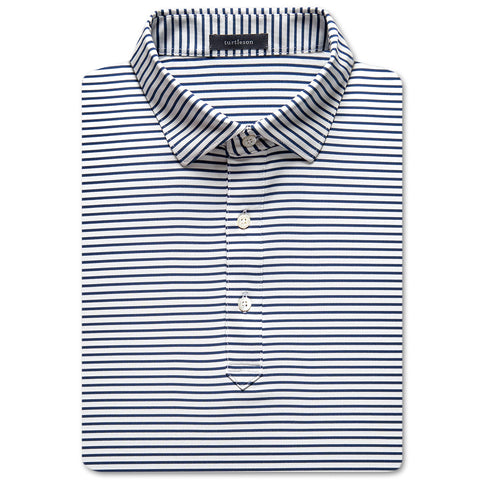 Jeff Stripe Performance Polo - Navy