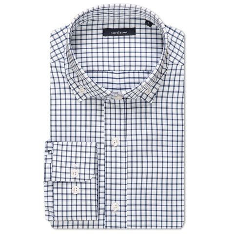 Silhouette Plaid Performance Shirt - Navy