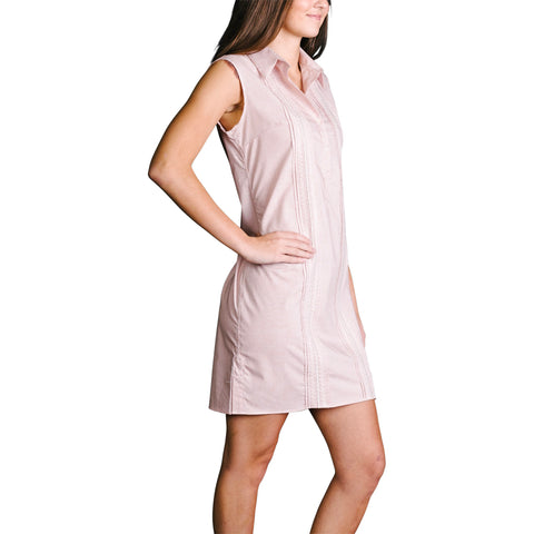 Hook 'Em Womens Sleeveless Guayabera Dress