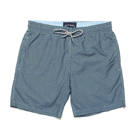 Wave Print Swim Trunks - Navy/Sky