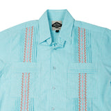 Mens Guayabera Shirt Cotton Windowpane Aqua and Coral