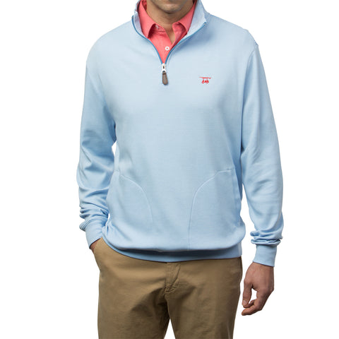 Clubhouse Quarter Zip - Blue/White Micro Stripe