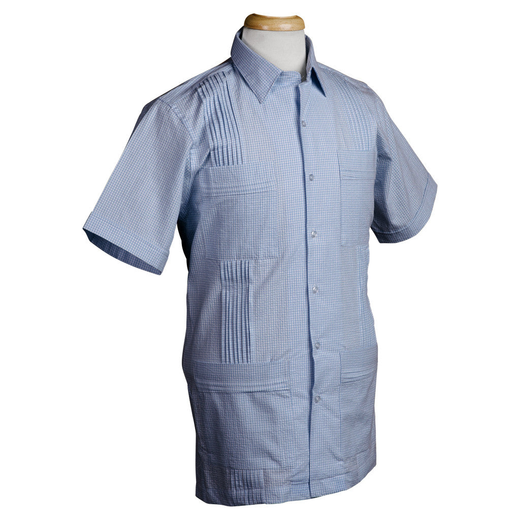 cartagena_dictator_gingham_seersucker_light_blue_guayabera_mens_shirt