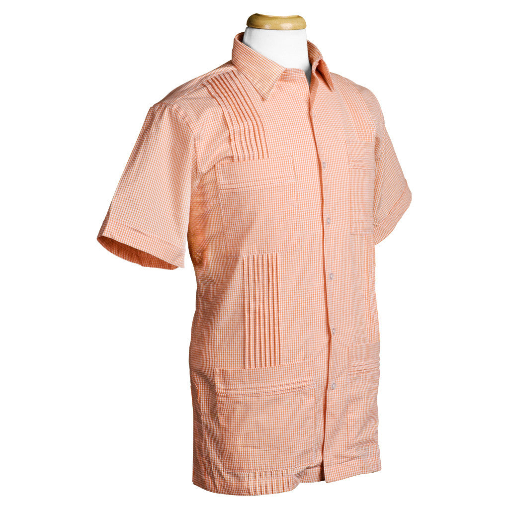 cartagena_dictator_gingham_seersucker_orange_guayabera_mens_shirt