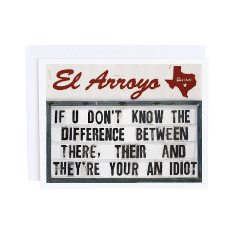 El Arroyo Card - There, Their & They're