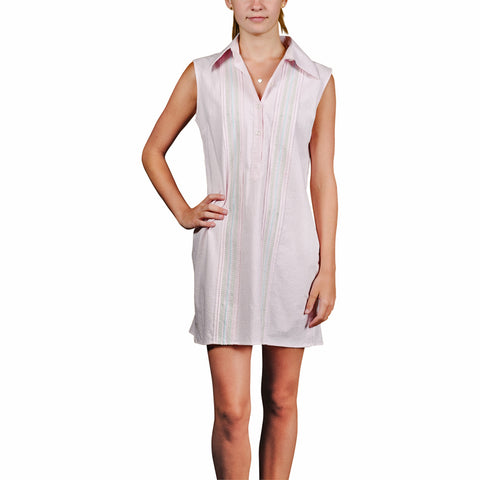 Cartagena Women's Sleeveless Guayabera Dress - Pink
