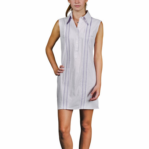 Charleston Women's Sleeveless Guayabera Dress - Lavender