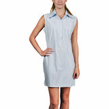 Charleston Women's Sleeveless Guayabera Dress - Light Blue