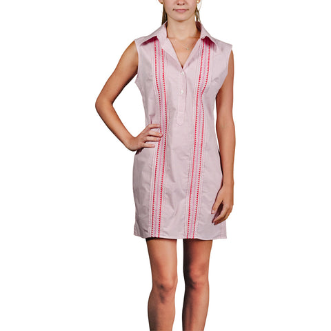 L. Avenue Sleeveless Guayabera Dress