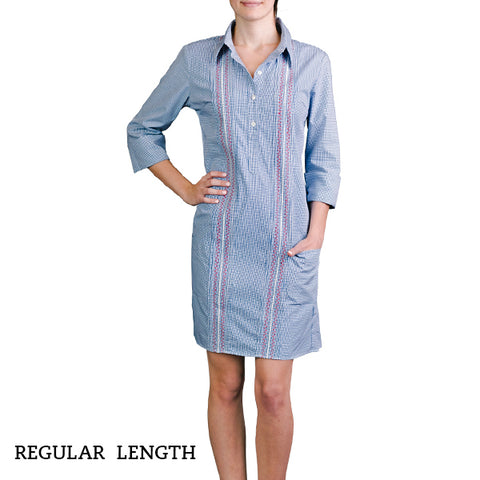 Monterey Women's Guayabera Dress - Royal
