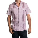 Guayabera Men's Shirt, AM Hemingway Mini Check Maroon, Mexican Shirts for Men
