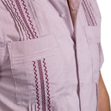 Guayabera Men's Shirt, AM Hemingway Mini Check Maroon, Mexican Shirts for Men 4