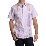 Guayabera Men's Shirt, LSU Hemingway Mini Check Purple, Mexican Shirts for Men