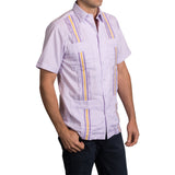 Guayabera Men's Shirt, LSU Hemingway Mini Check Purple, Mexican Shirts for Men 2
