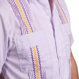Guayabera Men's Shirt, LSU Hemingway Mini Check Purple, Mexican Shirts for Men  4