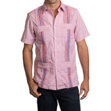 Guayabera Men's Shirt, Ole Miss Hemingway Mini Check Red, Mexican Shirts for Men