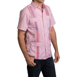 Guayabera Men's Shirt, Ole Miss Hemingway Mini Check Red, Mexican Shirts for Men 2