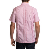 Guayabera Men's Shirt, Ole Miss Hemingway Mini Check Red, Mexican Shirts for Men 3
