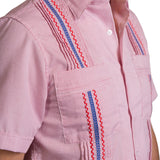 Guayabera Men's Shirt, Ole Miss Hemingway Mini Check Red, Mexican Shirts for Men 4