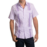 Guayabera Men's Shirt, TCU Hemingway Mini Check Purple, Mexican Shirts for Men