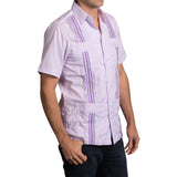 Guayabera Men's Shirt, TCU Hemingway Mini Check Purple, Mexican Shirts for Men 2