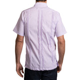 Guayabera Men's Shirt, TCU Hemingway Mini Check Purple, Mexican Shirts for Men 3