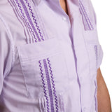 Guayabera Men's Shirt, TCU Hemingway Mini Check Purple, Mexican Shirts for Men 4