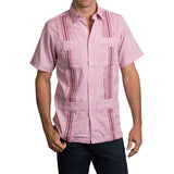 Guayabera Men's Shirt, Texas Tech Hemingway Mini Check Red, Mexican Shirts for Men