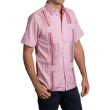 Guayabera Men's Shirt, Texas Tech Hemingway Mini Check Red, Mexican Shirts for Men 2