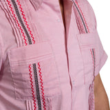 Guayabera Men's Shirt, Texas Tech Hemingway Mini Check Red, Mexican Shirts for Men 4