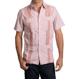 Guayabera Men's Shirt, UT Hemingway Mini Check Burnt Orange, Mexican Shirts for Men