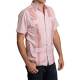Guayabera Men's Shirt, UT Hemingway Mini Check Burnt Orange, Mexican Shirts for Men 2