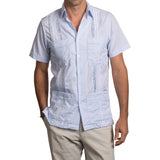 Panama Hemingway Guayabera - Light Blue + White