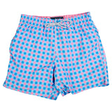 Classic Gingham Swim Trunks - Royal/Coral
