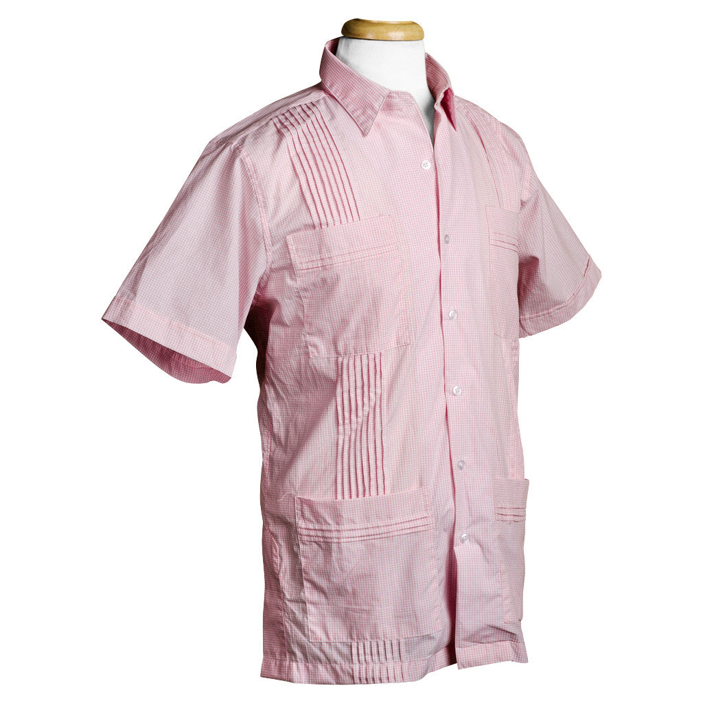 monterey_pink_dictator_gingham_cotton_guayabera_mens_shirt