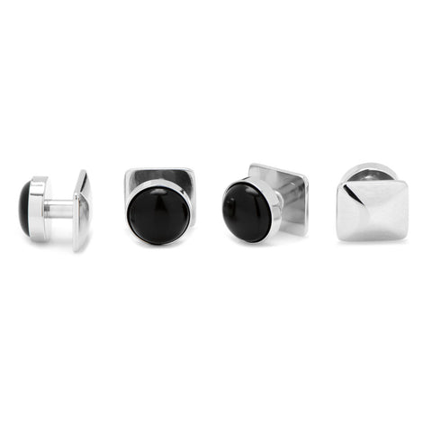 Silver and Onyx Stud Set