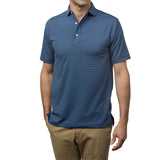 All-Day Stripe Performance Polo - Navy/Sky