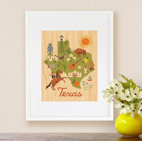 Texas Print on Wood