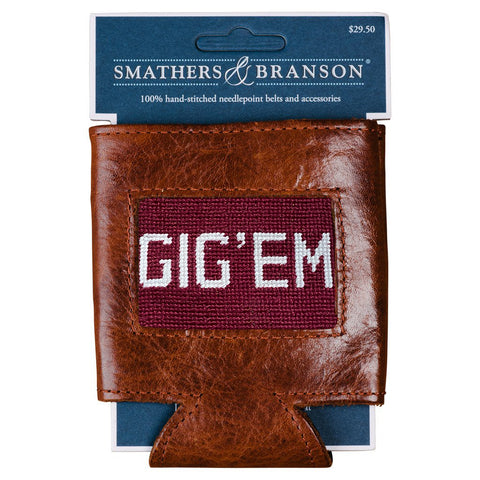 Gig 'Em Needlepoint Can Cooler