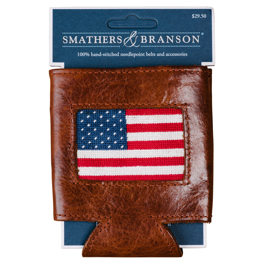 Smathers & Branson American Flag Needlepoint Can Cooler
