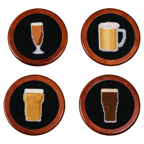Crossed Clubs Needlepoint Coaster Set