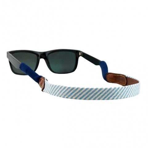 Blue Seersucker Needlepoint Sunglass Straps