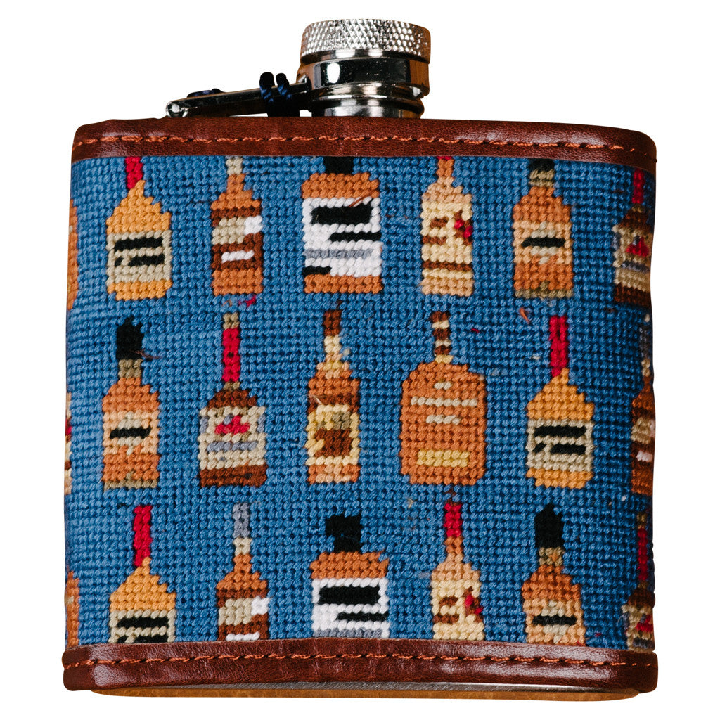 Smathers and Branson Bourbon Bottles Needlepoint Flask